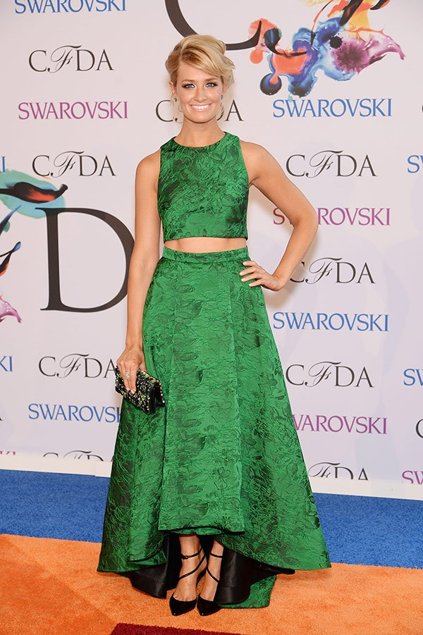 2 Broke Girls' Beth Behrs is my top pick. I absolutely LOVE this two piece embossed green creation and that sliver of skin (and abs). Plus she is relatively unknown in the world of fashion so well done to you.