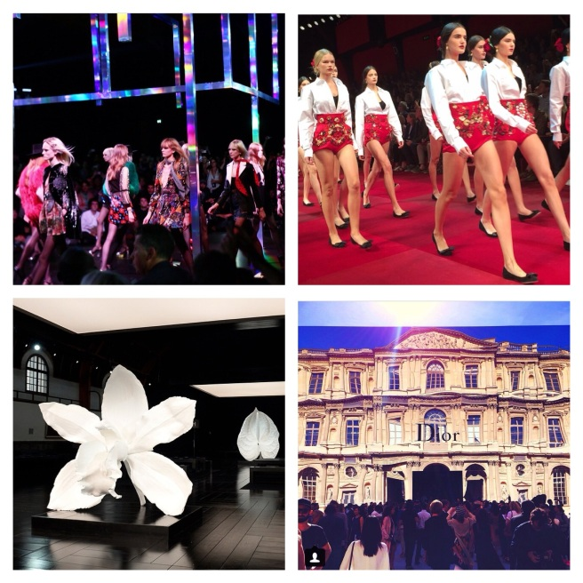 clockwise from top left: Saint Laurent, Dolce & Gabbana, Dior at The Louvre and Alexander McQueen